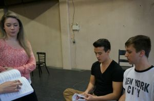 Sarah Smith, Chris Carson and Myles McCarthy rehearse Spring Awakening.