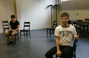 Myles McCarthy gets sulky as Moritz, with Chris Carson (Melchior) brooding in the background.