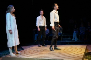 "Sarah Smith, Myles McCarthy and Chris Carson in SPRING AWAKENING ""Fighting Chance Productions never blinks, it tackles."" - Jo Ledingham, Vancouver Courier"